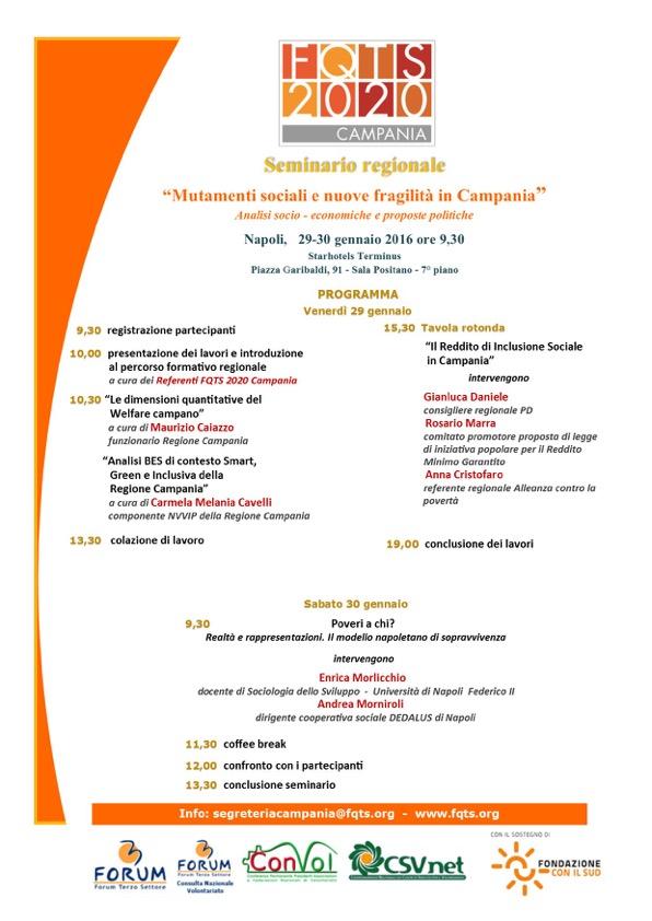 FQTS2020 Campania programma seminario 29-30 gennaio